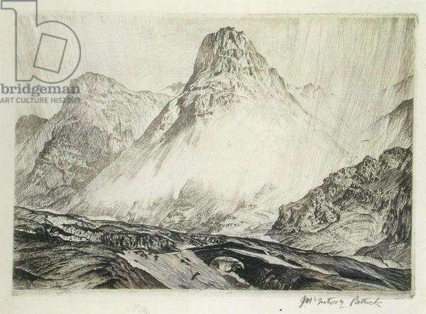 The Three Sisters, Glencoe, 1928 (etching)