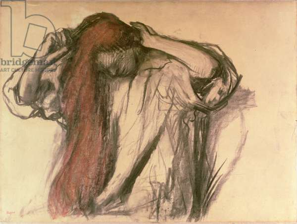 Woman combing her hair (charcoal & pastel)