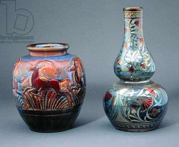 Antelope Vase, 1909-20, by Richard Joyce (1873-1931); Large double gourd bottle vase, 1912, by William S. Mycock (1872-1950), both Pilkington's Royal Lancastrian (ceramic)