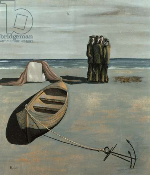 Surrealist Landscape - Man and Boat, 1934 (oil on panel)