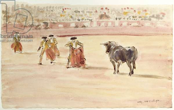 The First Bull, Seville, 1932 (w/c on paper)