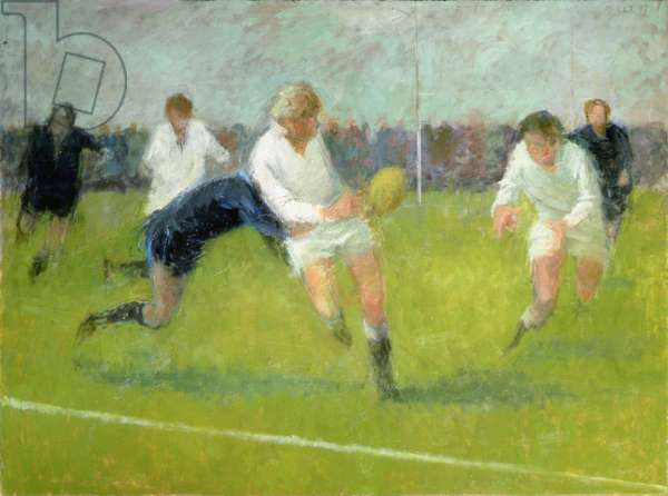 Pass and Tackle, 1987 (oil on board)