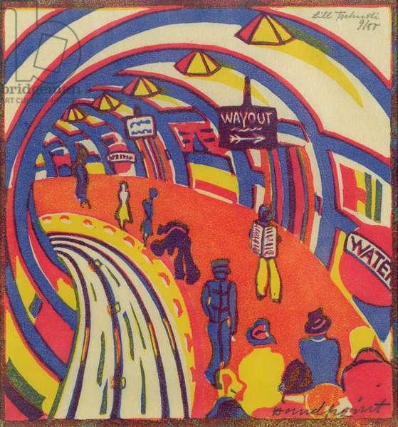 Underground, 1930 (linocut)