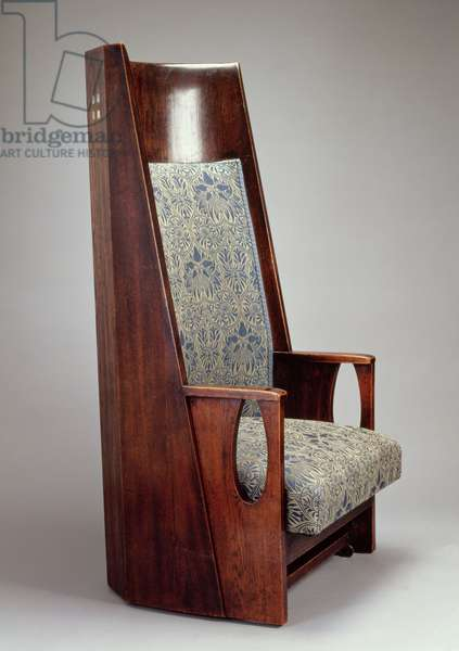 One of a pair of armchairs for the Blue Bedroom, Hous'Hill, Glasgow, 1905 (stained oak with mother of pearl inlay)