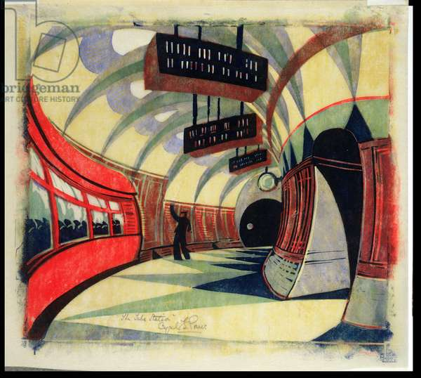 The Tube Train, c.1932 (linocut) (also see 246012)