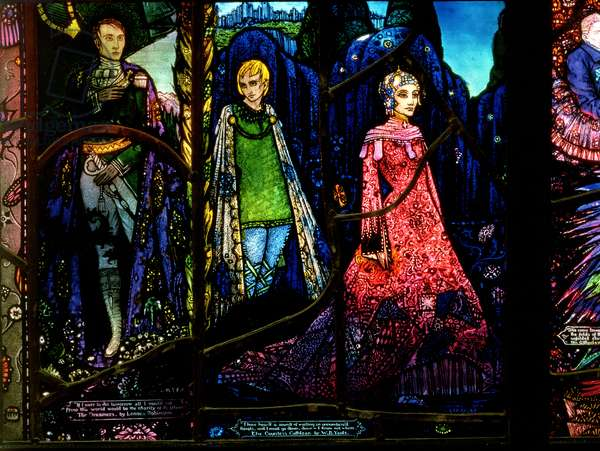 Detail from the Geneva Window showing 'The Dreamers' by Lennox Robinson (1886-1958) and 'Countess Cathleen' by W.B. Yeats (1865-1939) (stained glass)