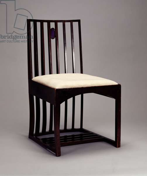 Chair in the Drawing Room, Hous'Hill, Glasgow, 1904 (wood stained dark, inlaid with coloured glass)