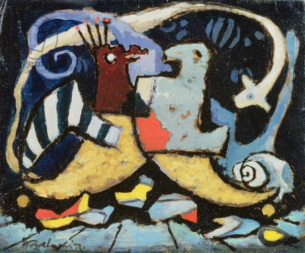 Untitled (Two Birds), 1932 (oil on card on panel)