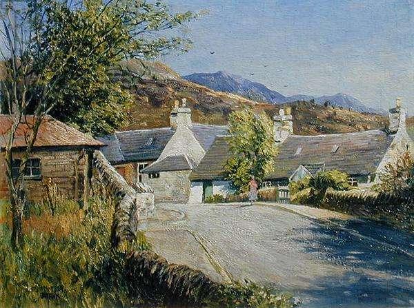Auchterarder Village, Perthshire, 1955 (oil on panel)