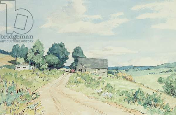 Farm at Canaan, New York, 1944 (w/c, pen & ink on paper)