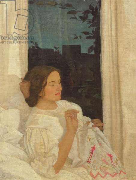 The Window Seat - An Evening at Home, 1911 (tempera on canvas laid on board)