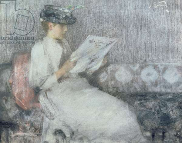 The Morning Paper, c.1890-91 (pastel on paper)