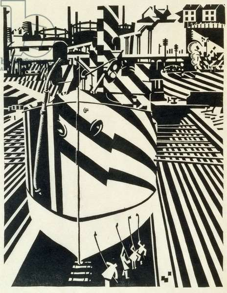 Liverpool Shipping, 1918 (woodcut on Japan paper)