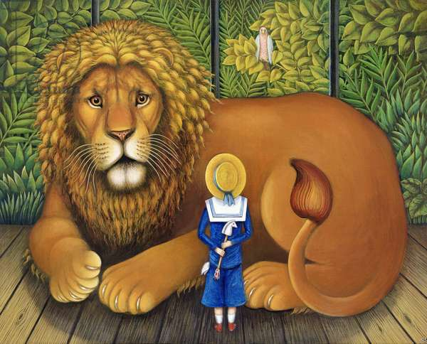 The Lion and Albert, 2001 (oil & tempera on panel)