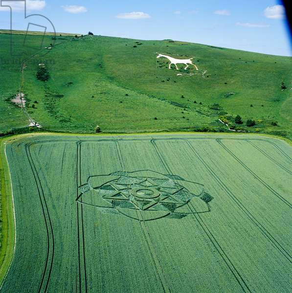 Crop circle in wheat field, Milk Hill, Alton Priors, Vale of Pewsey, Wiltshire, 17th July 2003 (aerial photograph)