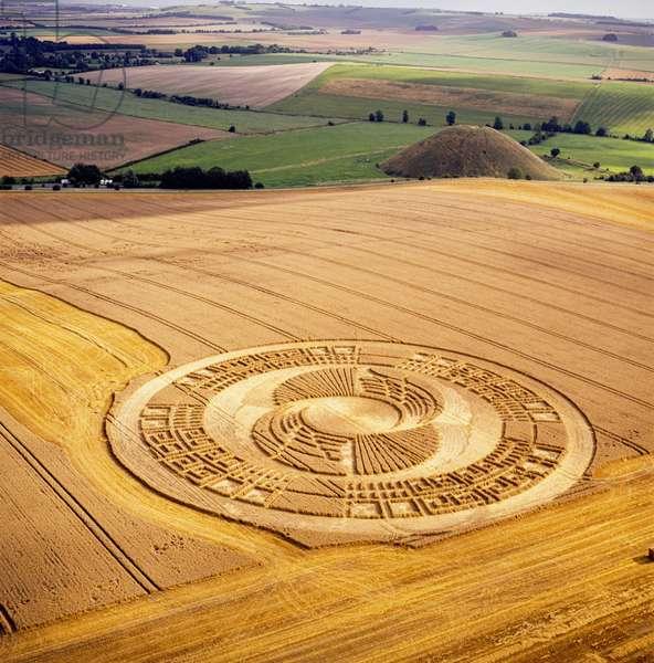 Crop circle in wheat field near Silbury Hill, Avebury, Wiltshire, 2nd August 2004 (aerial photograph)