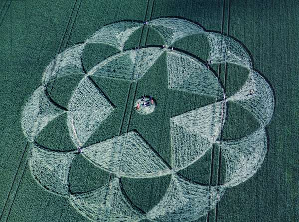 Crop circle in barley field, Avebury Trusloe, Wiltshire, 20th June 1998 (aerial photograph)