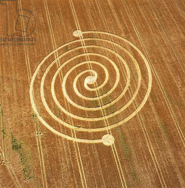 Crop circle in barley field, West Overton, Avebury, Wiltshire, 23rd June 2002 (aerial photograph)