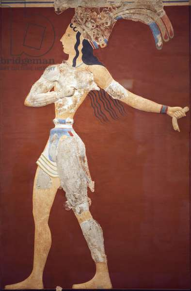"""Minoen art """"Prince of the Lilies"""""""" fresco. Original recontruction from the few fragments found by A. Evans on the Knossos archeological site. archeological museum of Heraklion. This reconstruction is uncertain. Knossos, Crete."""