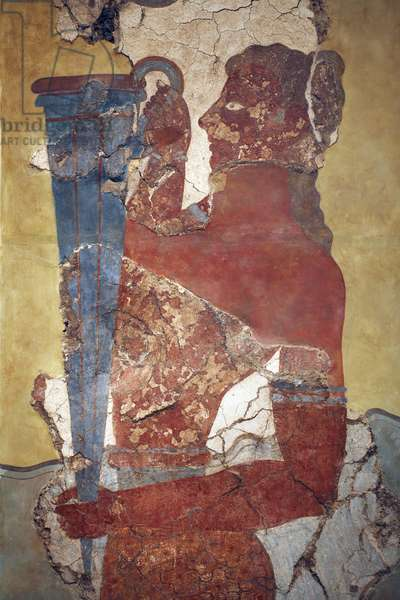"""Minoan art. The """"Cup-Bearer"""", a figure from the procession Fresco. Original reconstruction from the few fragments found by A. Evans on the Knossos archeological site and now displayed in Herakleion Archeological museum. It shows a young man with long black hair and naked torso carrying a large silver rython, a ceremonial vessel. This is the only life size figure in a minoen fresco whose head and torso are preserved. Herakleion, Archeological museum, Crete."""