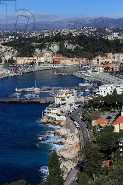 Nice, the harbour and the hill of the castle. French Riviera, France