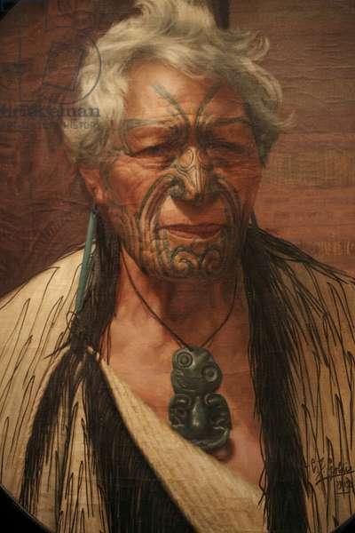 'An Aristocrat' Atama Paprangi, Chieftain of the Te Rarawa Tribe (oil on canvas)