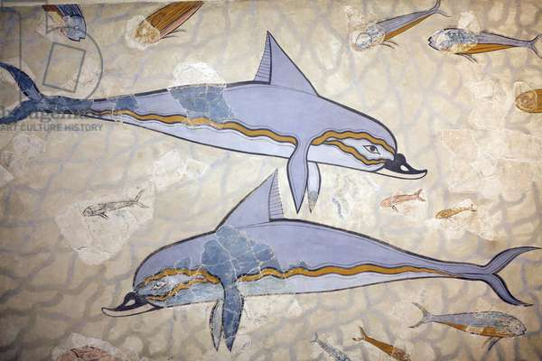"""Minoan art. The """"Dolphin Fresco"""". The fresco decorared the wall or the floor of a Hall above the Queen megaron. Fresco reconstructed from fragments of the original work found in Knossos (1600 - 1450 BC). Archeological museum, Herakleion, Crete."""