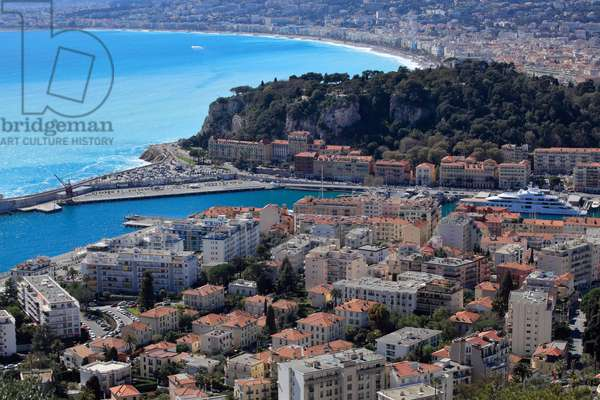 General view over Nice, French riviera, France.