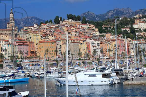 Old town and Marina in Menton. French Riviera .