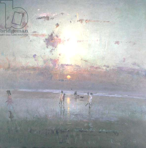 Sunset - Walkers, Camber Sands (oil on board)
