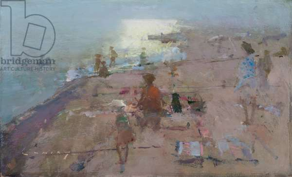Bathers, Camber Sands, 2017 (oil on board)
