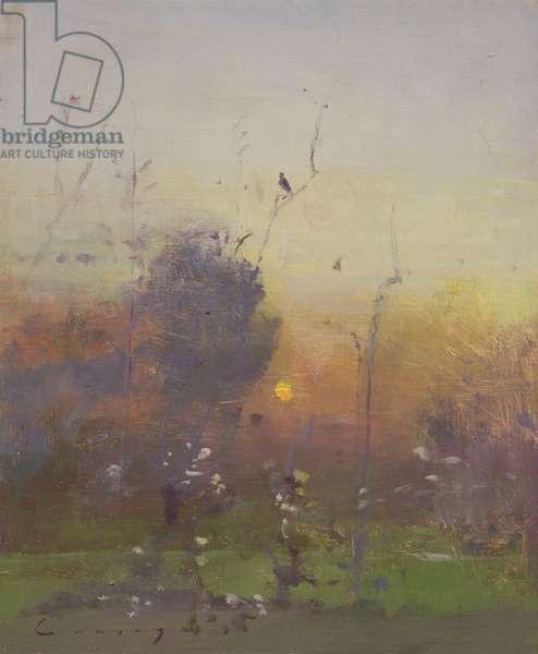 Evening Garden, Birdsong (oil on board)