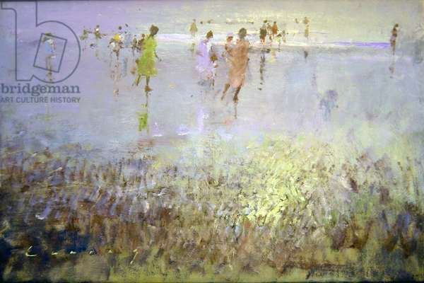 Camber Sands, June low tide (oil on board)