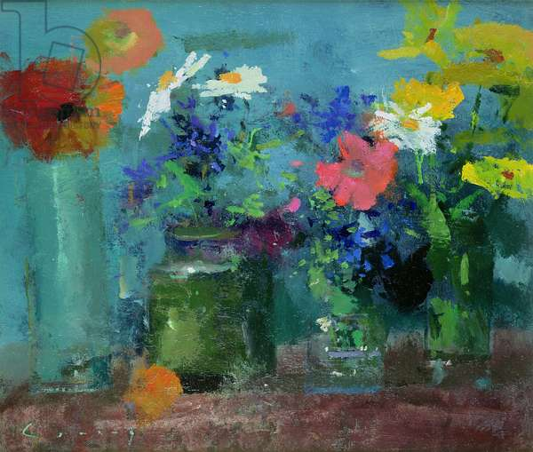 Marigolds, Poppies and Daisies (oil on board)