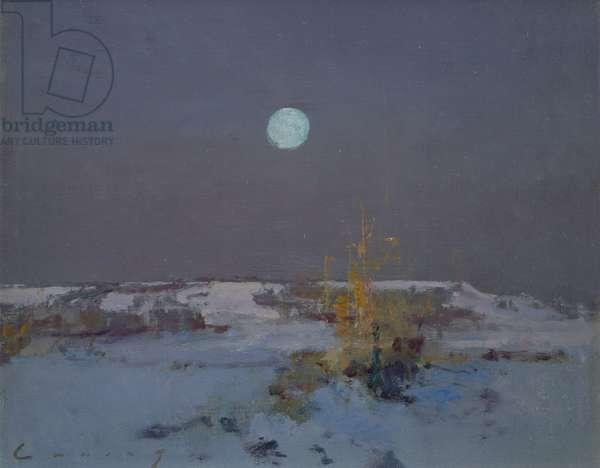 Snow Moonrise (oil on board)