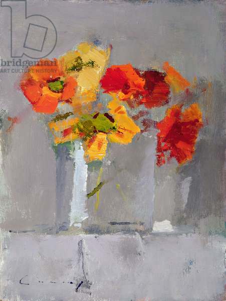 Nasturtiums (oil on board)