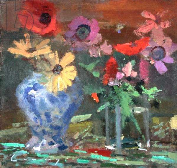 Daisies and Anemones (oil on board)