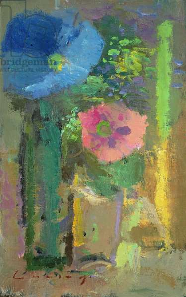 Morning Glory and Poppy (oil on board)