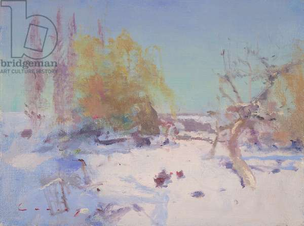Snow in Sussex (oil on board)