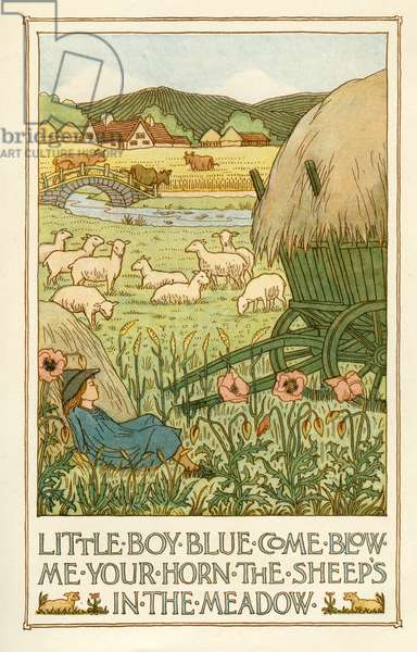 Little Boy Blue Come Blow Me Your Horn The Sheep's In The Meadow, 1897, (Lithograph)