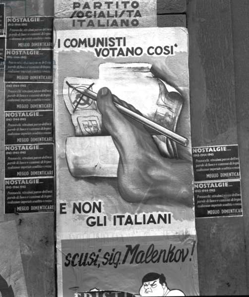 Milan, 1953. Electoral posters for the parliamentary elections of 1953.