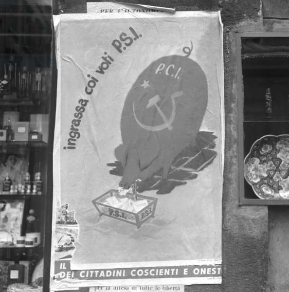 Milan, 1953. Electoral posters for the parliamentary elections of 1953. Campaign of the Socialist Party