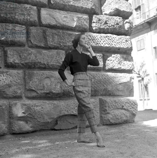 Fashion: Miricae collection, worn by Elsa Martinelli, Rome, Italy, 1953 (b/w photo)