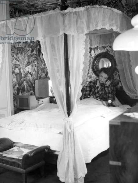 """Paris, 1952. Model Sophie Malgà in bed. This picture comes from the reportage """"The Day of a Model"""""""