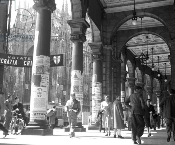 Milan, 1953. Political elections of 1953, posters in Piazza Duomo