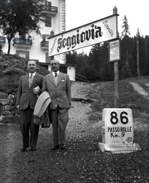 St. Martin of Castrozza, 1952. Ministers Giuseppe Pella and Pietro Campilli