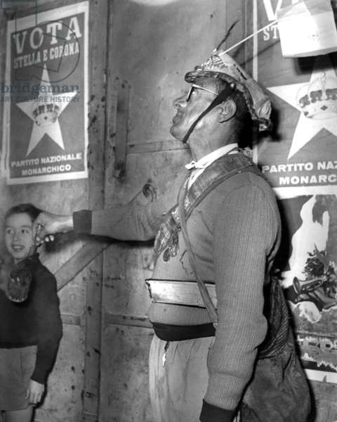 Naples, 1953. Political elections of 1953, attack of election posters on the streets