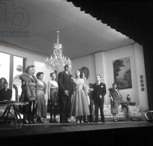 "Milan, December 1952. ""We are all Milanese"" comedy by Arnaldo Fraccaroli starring Nino Besozzi, Paola Orlova, Liliana Feldmann, G. Pogliani and Tommei"