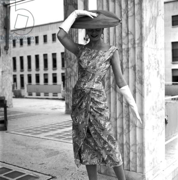 Fashion, Rome, Italy, 1956, Irene galitzine, spring summer collection (b/w photo)