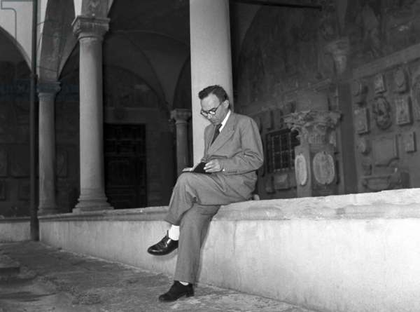 Florence, 1952. The former mayor of Florence Giorgio La Pira in the cloister of the convent where he lived